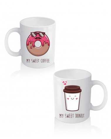 Donuts e Coffee - Coppia di Tazze Personalizzate -