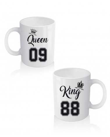 King e Queen Number - Coppia di Tazze Personalizzate -