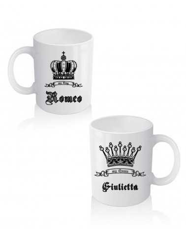 King e Queen Name - Coppia di Tazze Personalizzate -
